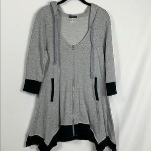 Venus grey hooded full zip sweatshirt size Med.